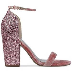 Guess Bambam Pink Sparkle Occasion Open Toe Heels